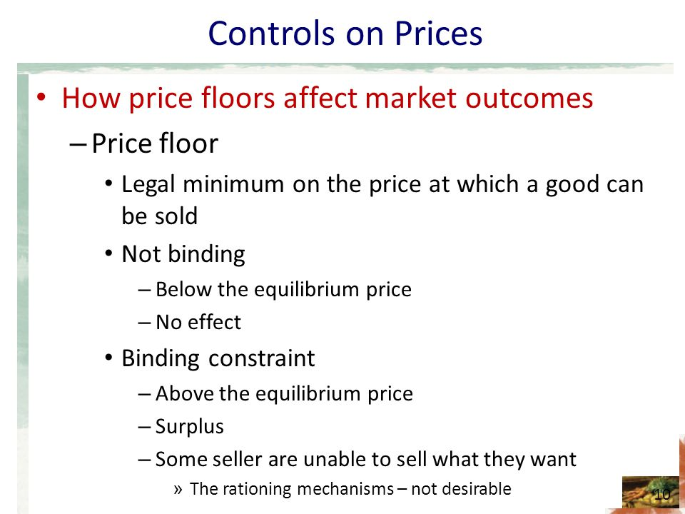 Controls on Prices How price floors affect market outcomes Price floor