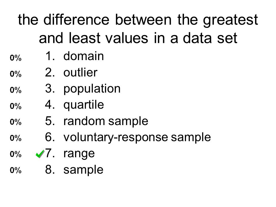 the difference between the greatest and least values in a data set