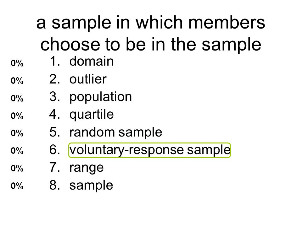 a sample in which members choose to be in the sample