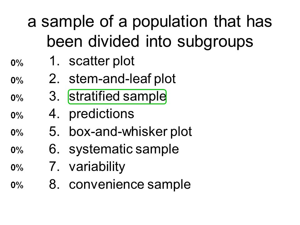 a sample of a population that has been divided into subgroups