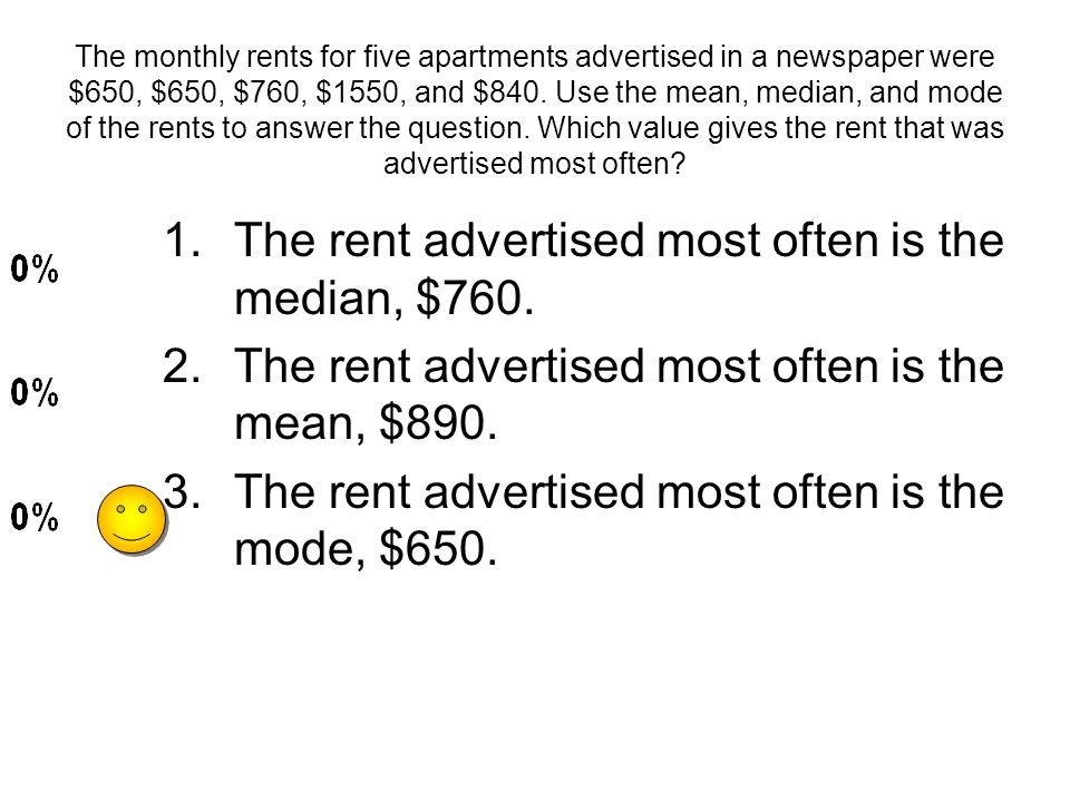 The rent advertised most often is the median, $760.