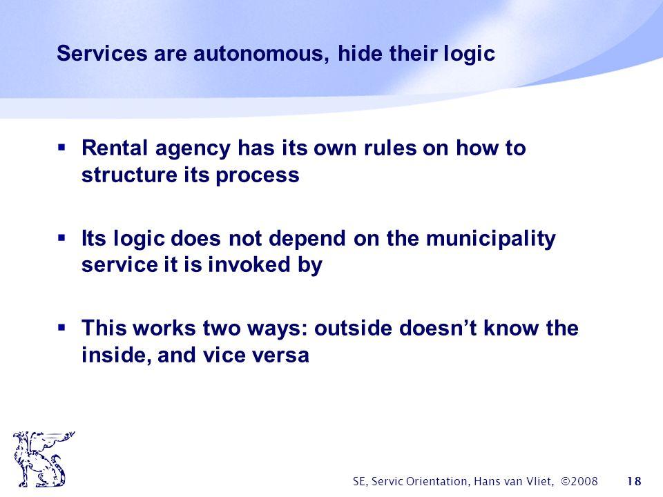 Services are autonomous, hide their logic