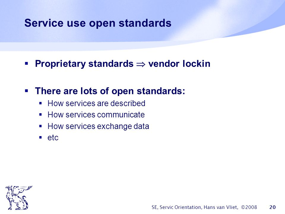 Service use open standards