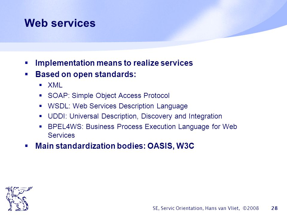 Web services Implementation means to realize services