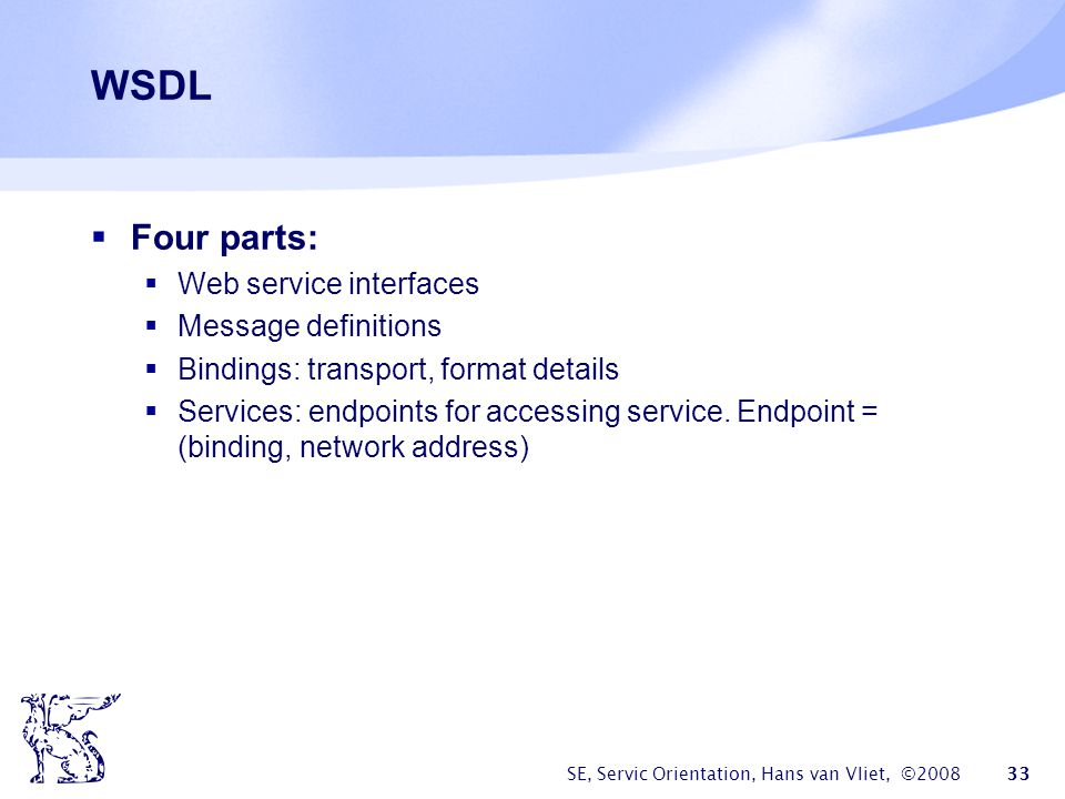 WSDL Four parts: Web service interfaces Message definitions