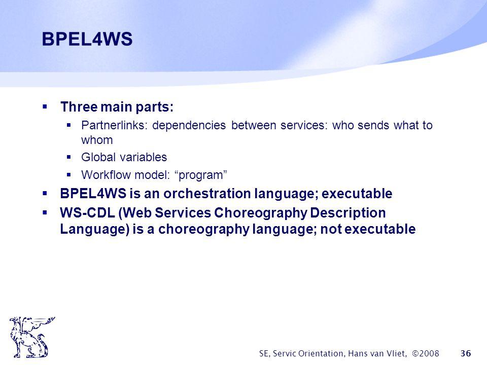 BPEL4WS Three main parts: