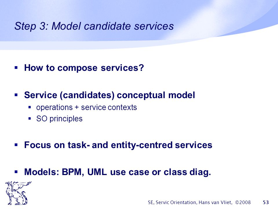 Step 3: Model candidate services