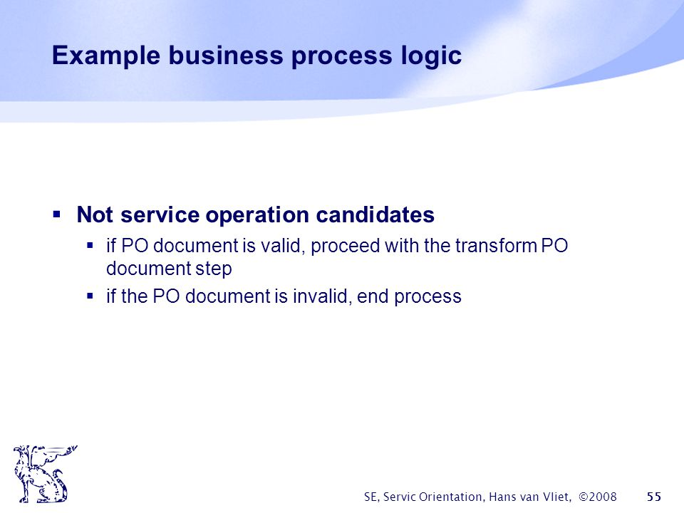 Example business process logic