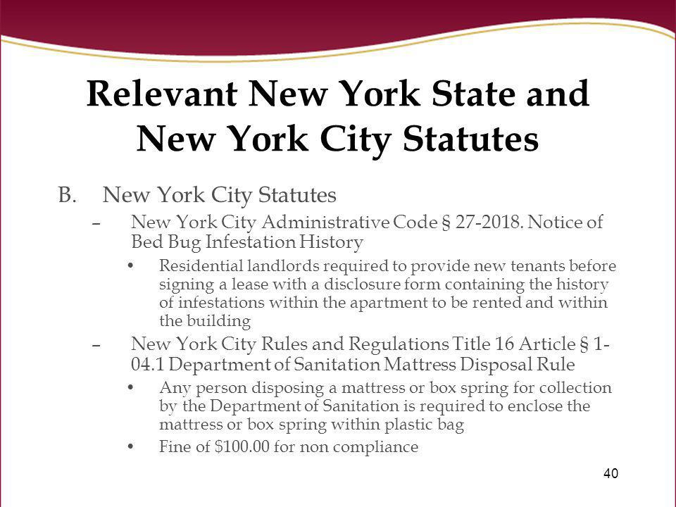 Relevant New York State and New York City Statutes