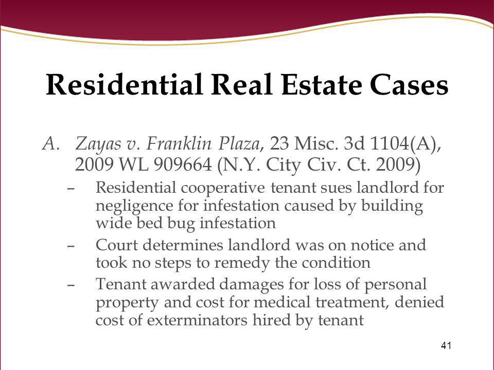 Residential Real Estate Cases