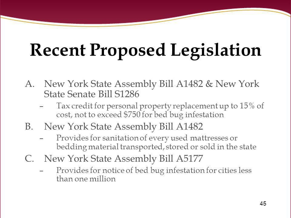 Recent Proposed Legislation