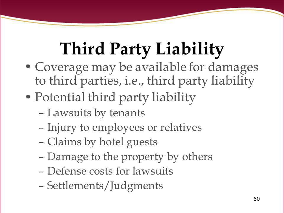 Third Party Liability Coverage may be available for damages to third parties, i.e., third party liability.