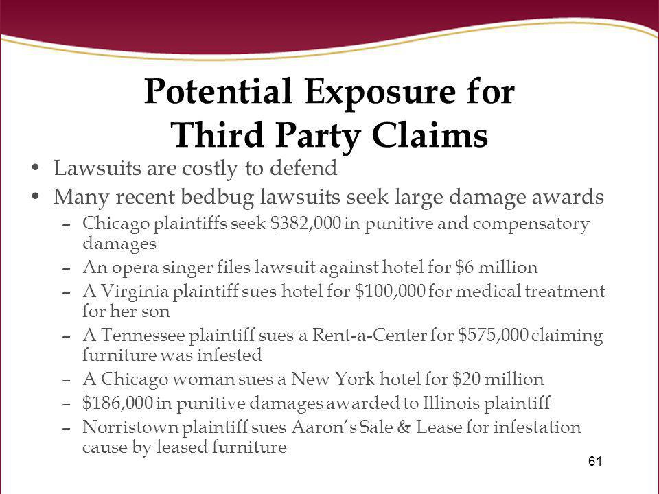 Potential Exposure for Third Party Claims