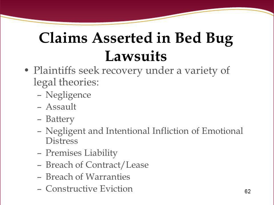 Claims Asserted in Bed Bug Lawsuits