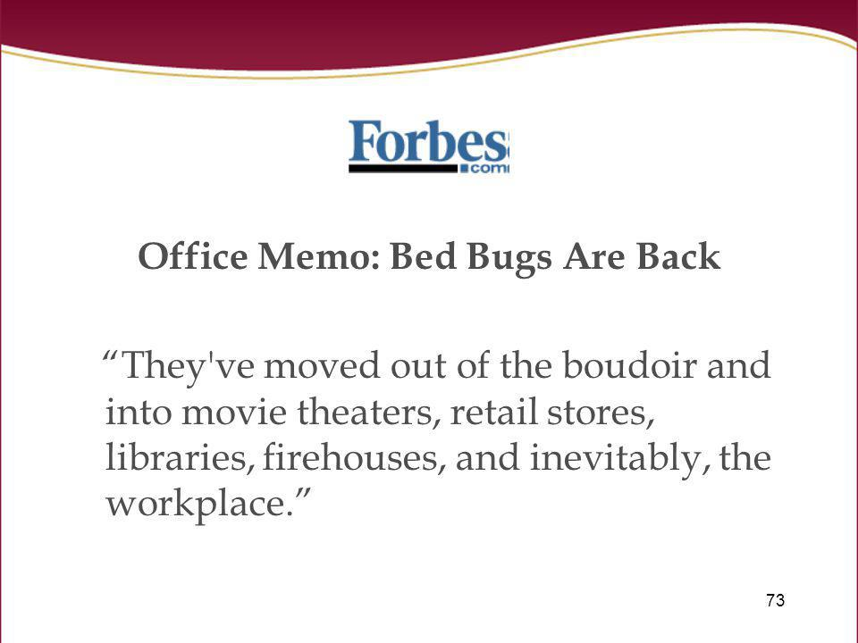 Office Memo: Bed Bugs Are Back