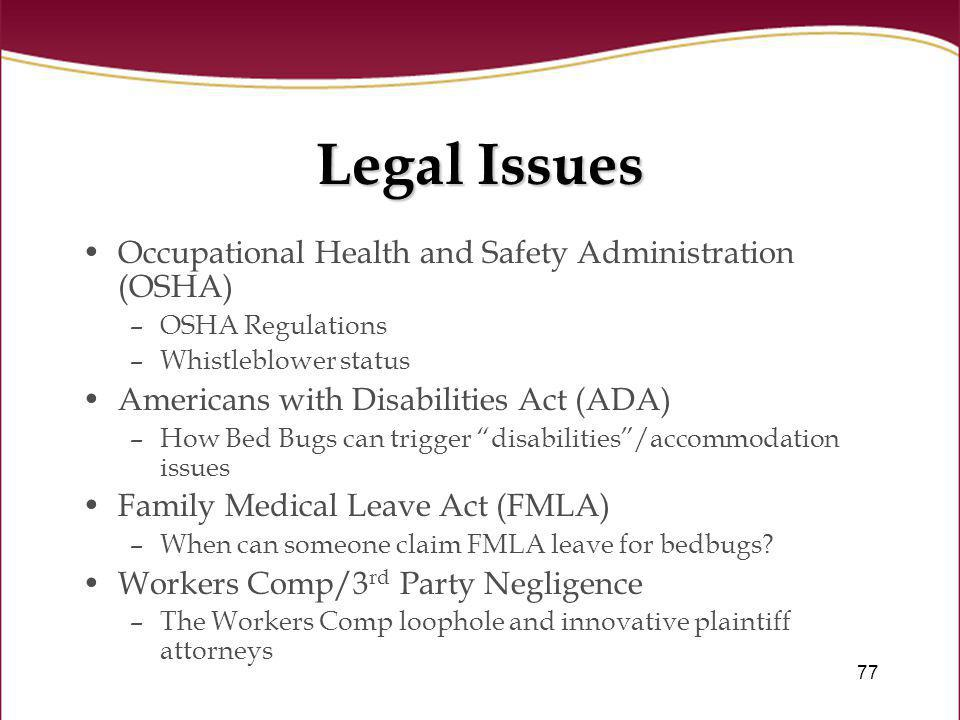 Legal Issues Occupational Health and Safety Administration (OSHA)