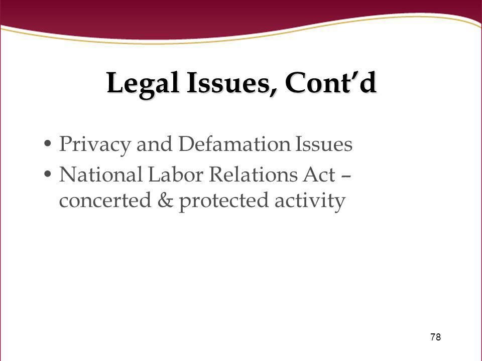 Legal Issues, Cont'd Privacy and Defamation Issues