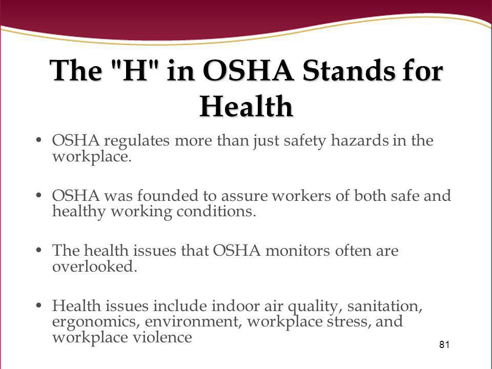 The H in OSHA Stands for Health