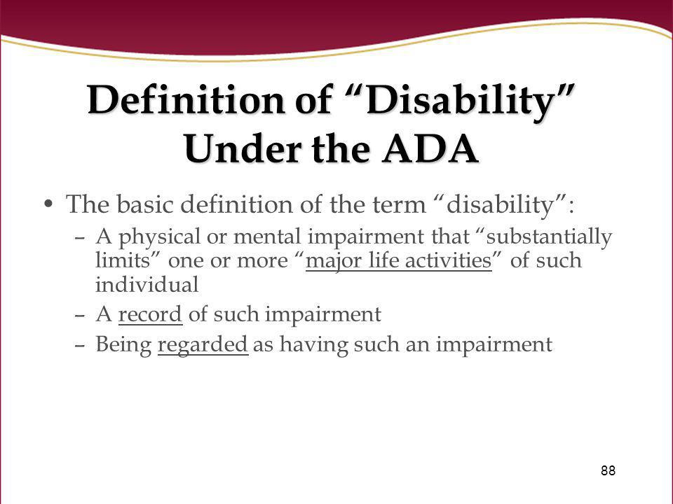 Definition of Disability Under the ADA