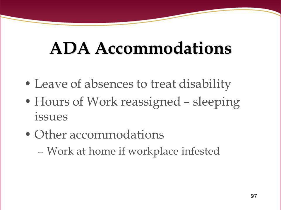 ADA Accommodations Leave of absences to treat disability