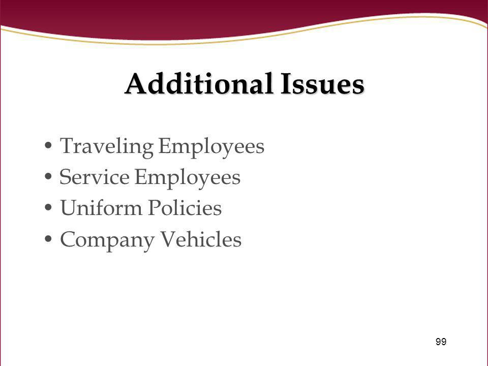 Additional Issues Traveling Employees Service Employees