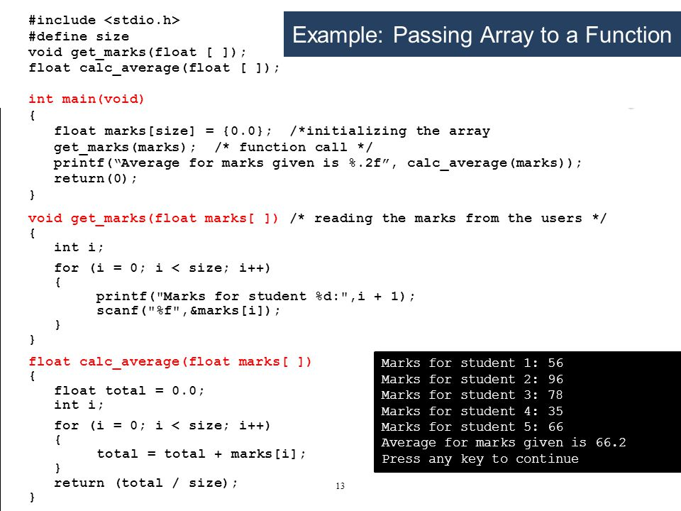 Example: passing array to a function