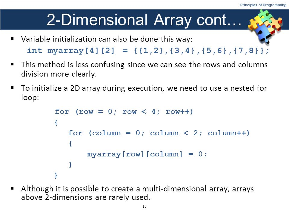 2-Dimensional Array cont…