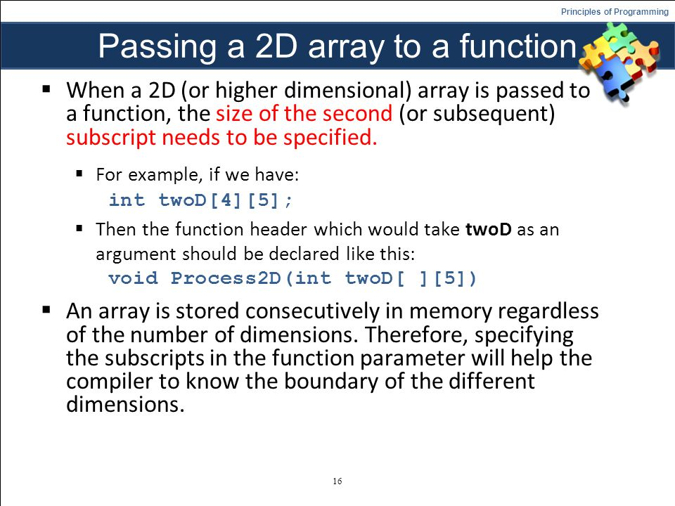 Passing a 2D array to a function