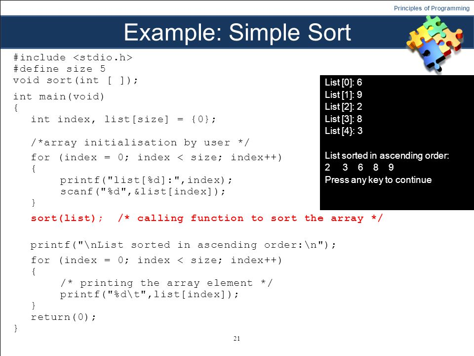 Example: Simple Sort
