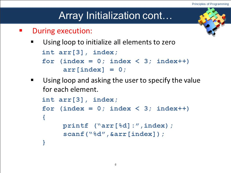 Array Initialization cont…