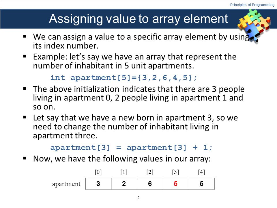Assigning value to array element