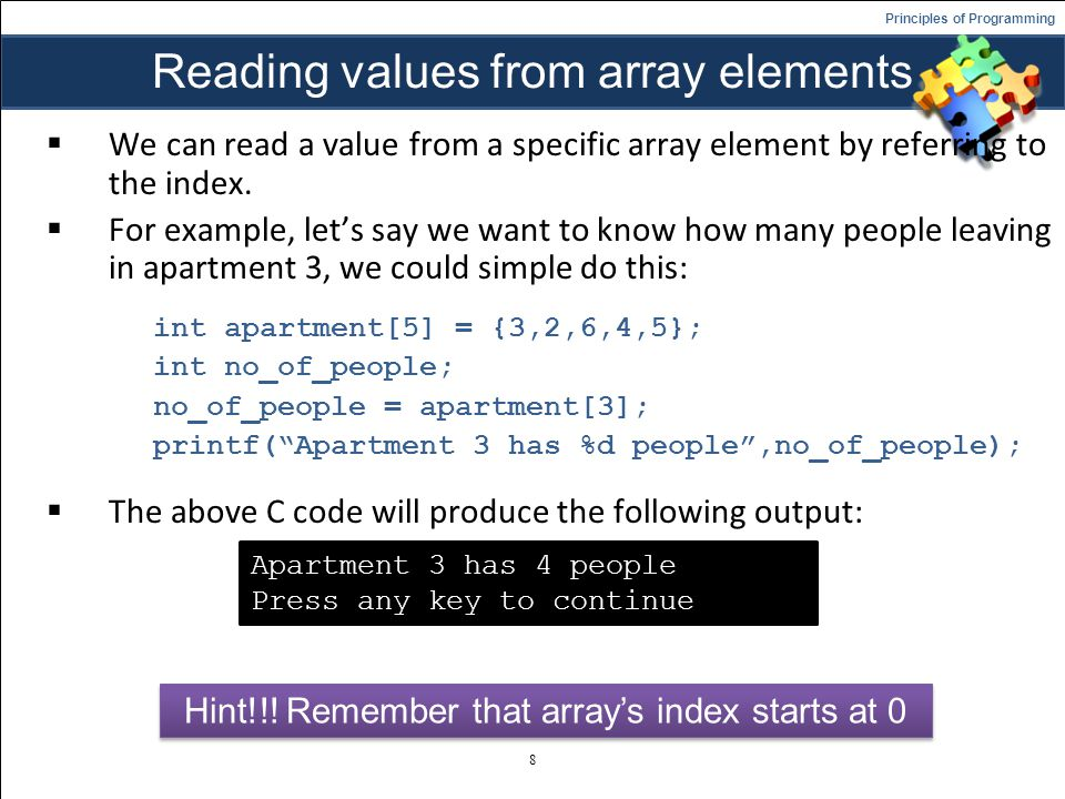 Reading values from array elements