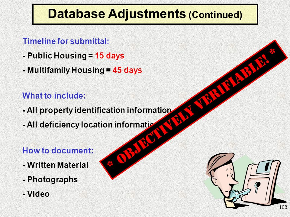 Database Adjustments (Continued)