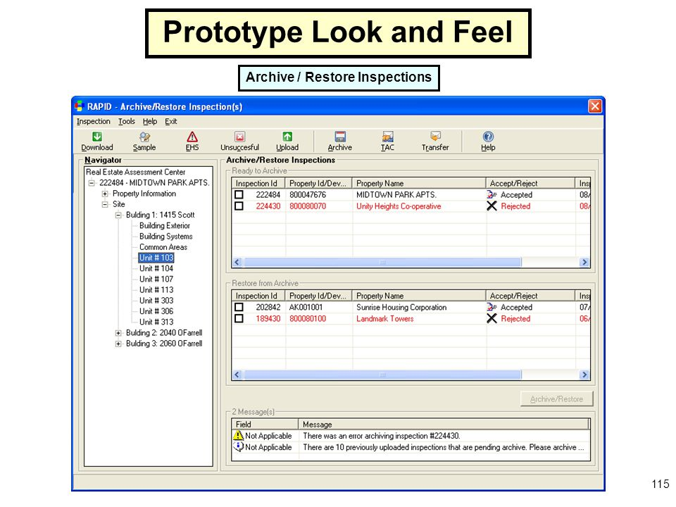 Prototype Look and Feel Archive / Restore Inspections