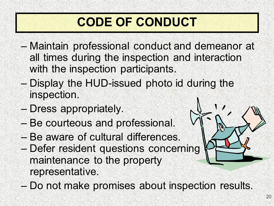CODE OF CONDUCT Maintain professional conduct and demeanor at all times during the inspection and interaction with the inspection participants.