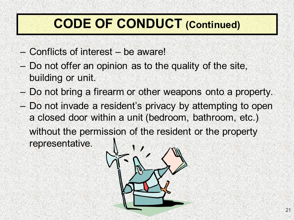 CODE OF CONDUCT (Continued)