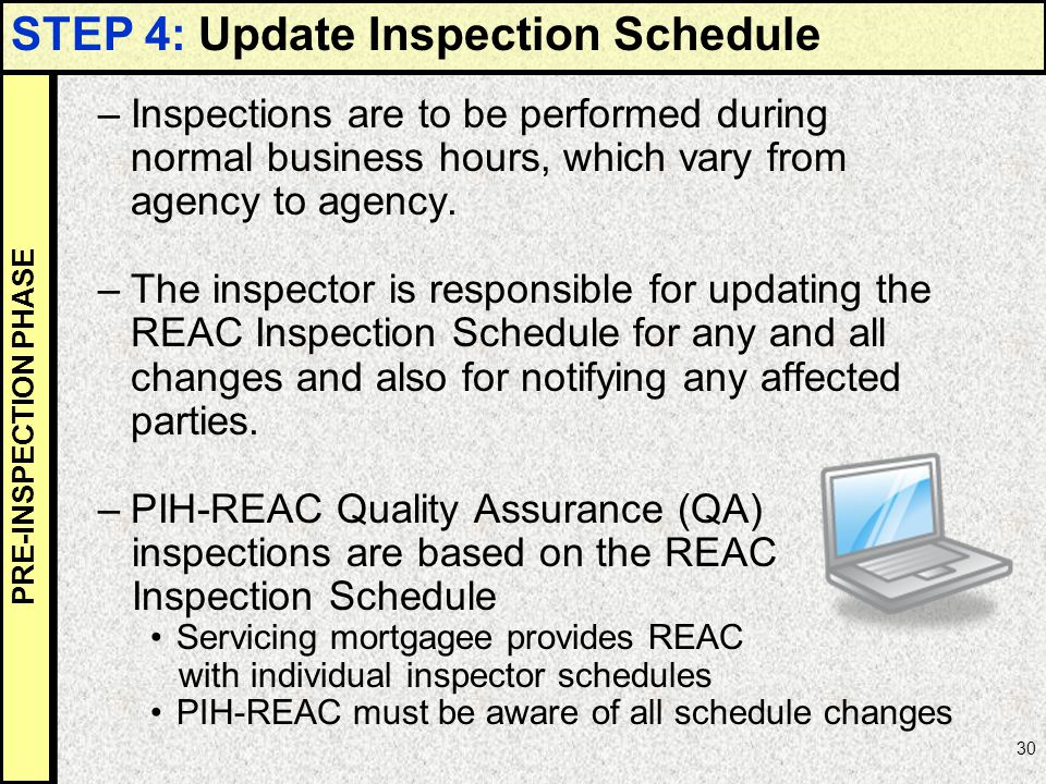 STEP 4: Update Inspection Schedule