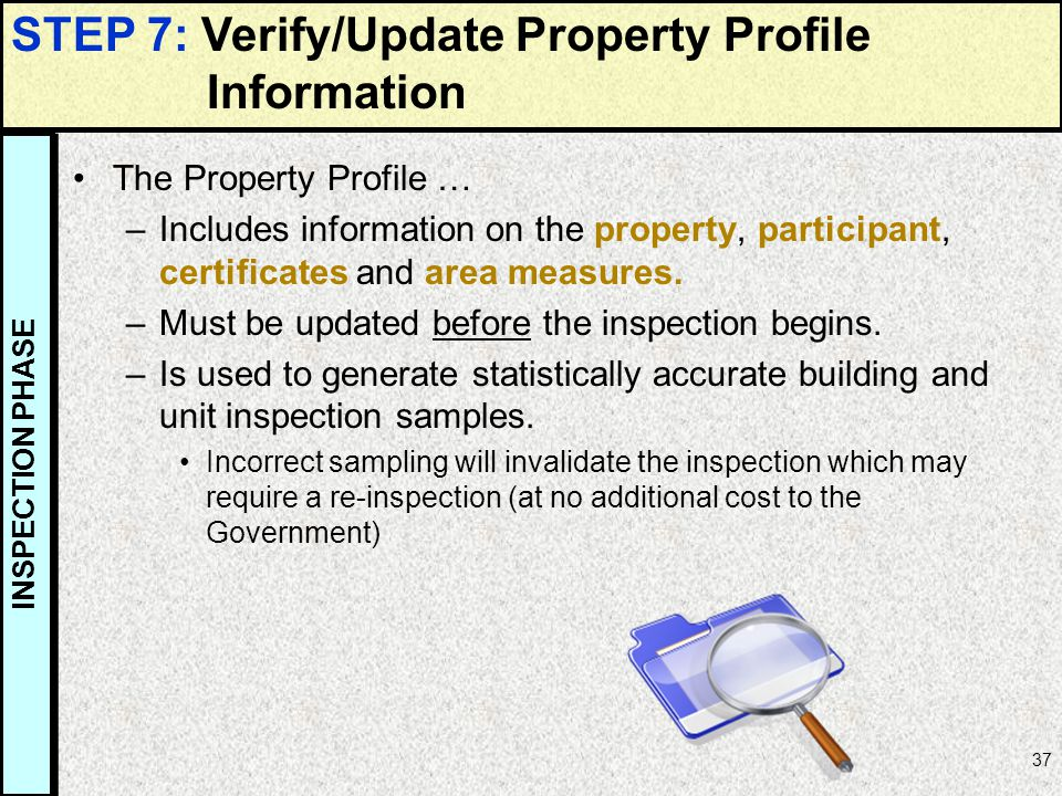 STEP 7: Verify/Update Property Profile Information