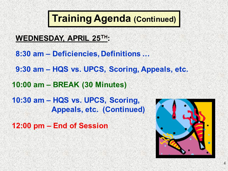Training Agenda (Continued)