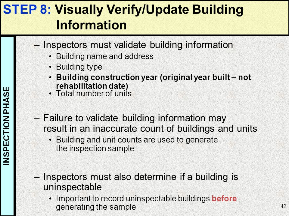 STEP 8: Visually Verify/Update Building Information