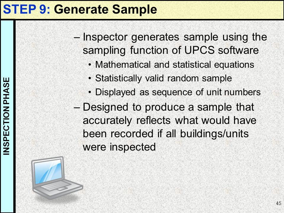 STEP 9: Generate Sample Inspector generates sample using the sampling function of UPCS software. Mathematical and statistical equations.