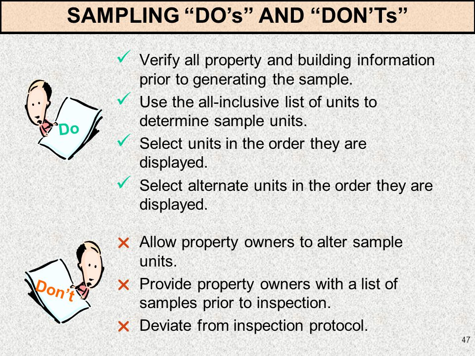 SAMPLING DO's AND DON'Ts