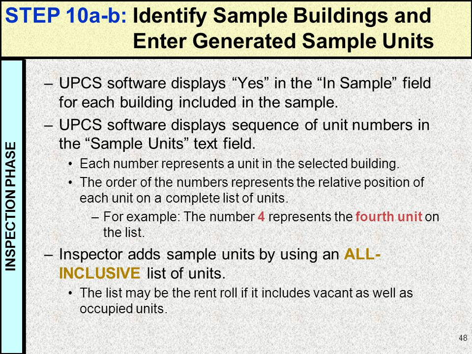 STEP 10a-b: Identify Sample Buildings and Enter Generated Sample Units