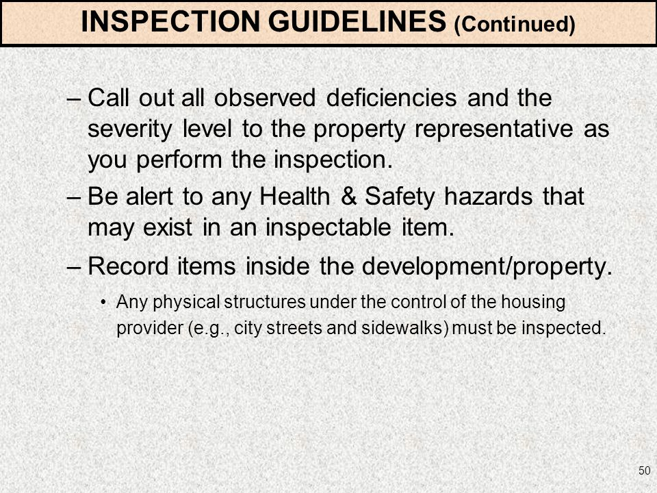 INSPECTION GUIDELINES (Continued)