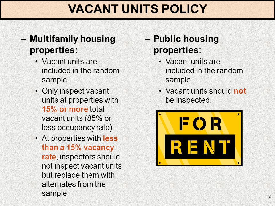 VACANT UNITS POLICY Multifamily housing properties: