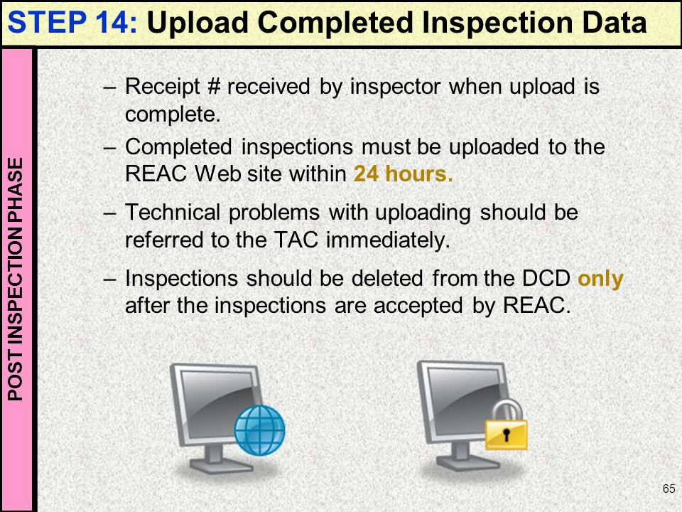 STEP 14: Upload Completed Inspection Data