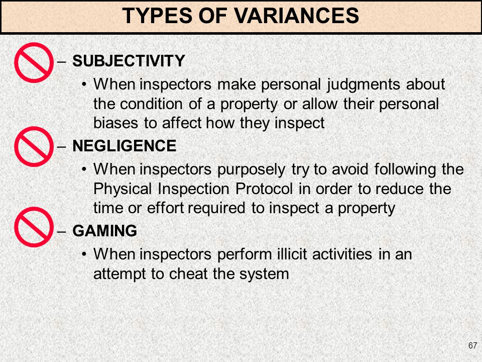 TYPES OF VARIANCES SUBJECTIVITY
