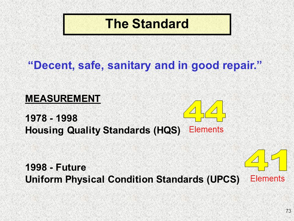Decent, safe, sanitary and in good repair.