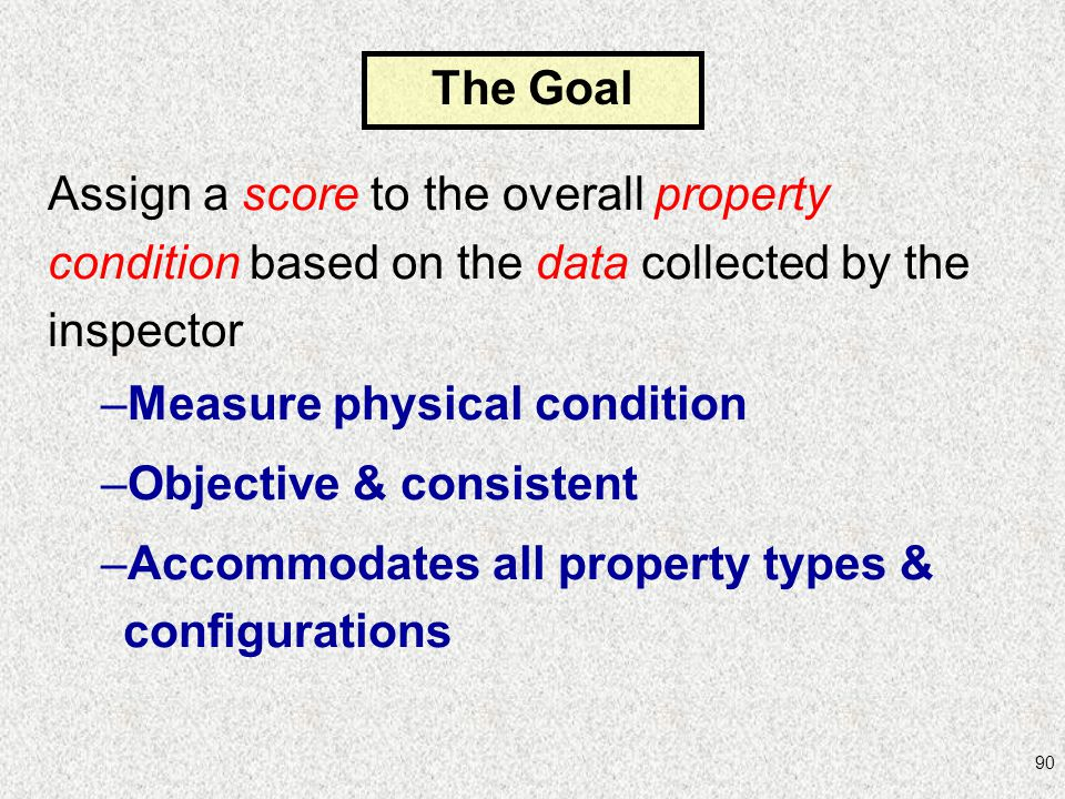 Assign a score to the overall property