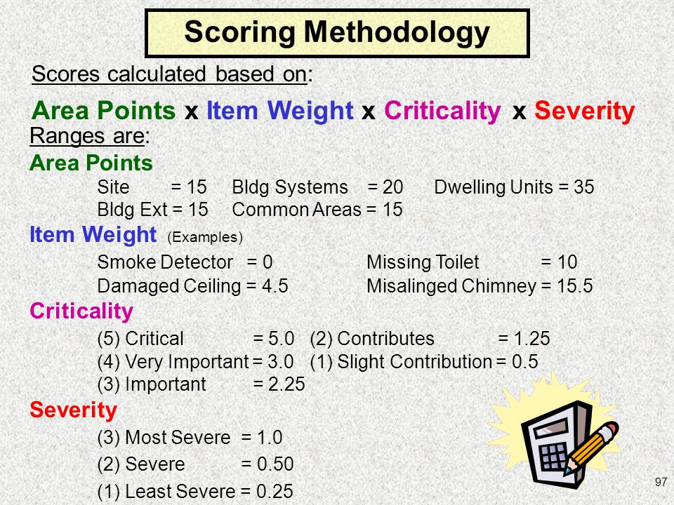 Scoring Methodology Area Points x Item Weight x Criticality x Severity